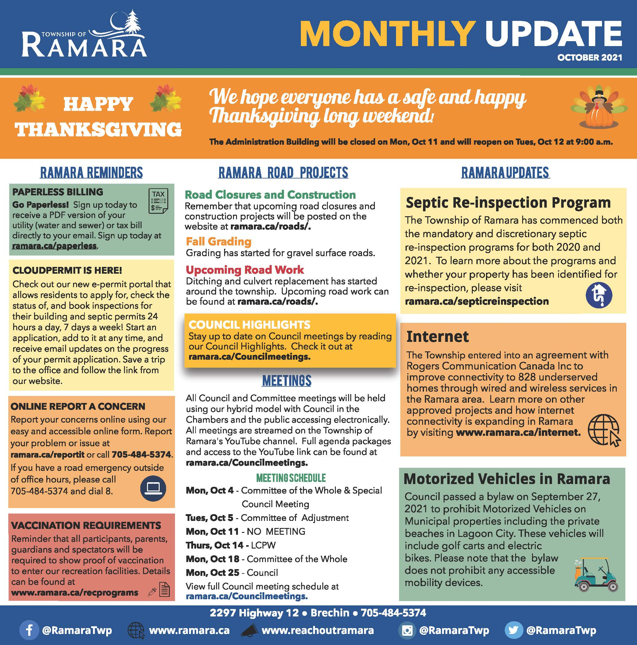 October edition of the Ramara Bulletin that lists all the news and important updates for Ramara Township.