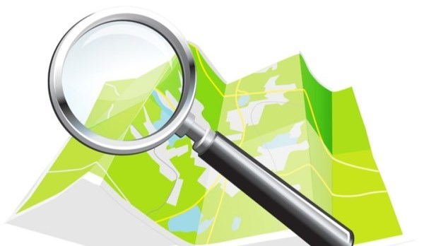 Magnify glass with a map.